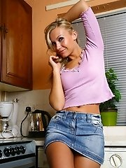 Mischa strips off to masturbate in the kitchen