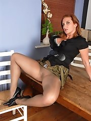 Army girl Jenny is looking to get you stiffly to attention with her curvy weapons, all clad in an olive gossimer of sheer glossy nylon pantyhose... Th