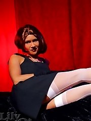 Vintage style of sexy mom Lily in sexy white stockings