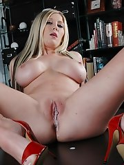 Michelle B in red high heels uses a big black dildo on herself!